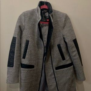 Vince Camuto Wool and Leather Coat